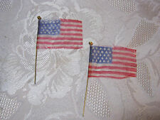 "ANTIQUE TOY SMALL 2"" AMERICAN FLAGS  FOR TOY FIGURES  T*"