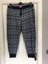 Ladies M&S Size 20 Pyjama Bottoms Lounge Pants Fleece Navy