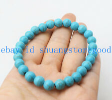 Natural 8mm Blue Turquoise Round Gemstone Beads Bracelet 7.5'' AAA++