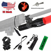 8000LM Red LED Coyote Hunting Flashlight Weapon Gun Light Scope Mount Air Rifle