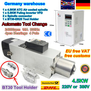 【DE】4.5KW BT30 ATC Automatic Tool Change Air Cooled Spindle Motor 380V+5.5KW VFD