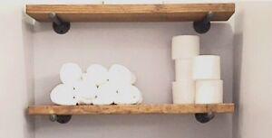 "12"" Deep Industrial Floating Shelf, Rustic Shelf, Pipe Shelf"