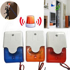 12V Mini  Wired Sound Alarm Strobe Flashing Light Siren Home Security System
