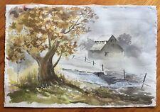 Vintage Watercolor Landscape Farm Barn Fog Signed Le Nore Jones OR - CA