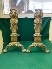 Vintage heavy Brass and iron Fire Dogs grate lion head Pair