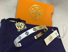 NWT Tory Burch Pierced Logo T Cuff Bangle Bracelet In Gold & White W/ Receipt