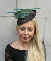 Black Bottle Green Peacock Feather Disc Saucer Hat Fascinator Hair Races 6871