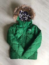 WOMEN'S THE NORTH FACE GREEN COAT JACKET DOWN INSULATED SKI SIZE XS