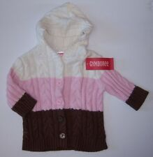 NWT Gymboree Kitty Glamour 3-6 Month Neapolitan Cable Duster Sweater Pink Brown