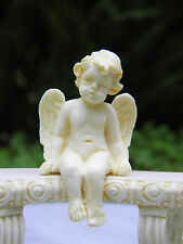 Miniature Dollhouse FAIRY GARDEN Accessories ~ Ivory Sitting Cherub Angel  ~ NEW