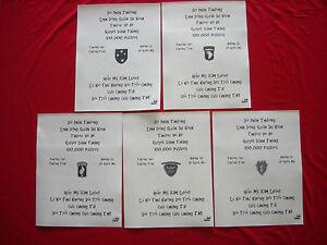 Vietnam War 5 VC Propaganda Leaflets Against 5 US Elite Combat Units Unused