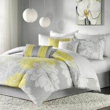 BEAUTIFUL CHIC GREY WHITE YELLOW FLORAL FLOWER MODERN COMFORTER SET CAL & KING
