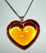 Authentic BACCARAT Crystal Honey AMBER Glamour Heart Sterling Chain Necklace
