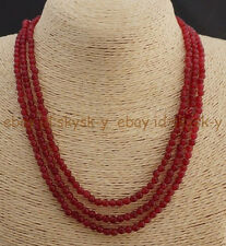 GENUINE TOP NATURAL 3 ROWS 4MM FACETED RED RUBY ROUND BEADS NECKLACE 18""