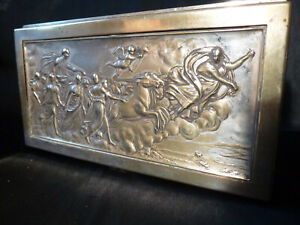 IMPRESSIVE ANTIQUE EMBOSED BRASS AND SILVER  BOX EOS CHERUBS HORSES ART NOVOUEA