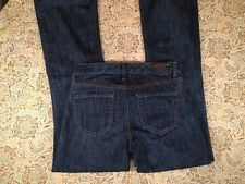 GAP JEANS 1969 STRETCH DARK SEXY FLARE 1969 LEATHER PATCH WOMEN'S JEANS SIZE 2A