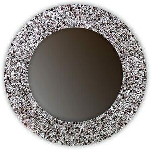 "DecorShore 24"" Iced Coffee, Handmade Round Decorative Mosaic Glass Wall Mirror"