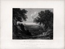 Stampa antica PAESAGGIO ABRAMO e ISACCO Bibbia da Gaspar Poussin 1840 Old print
