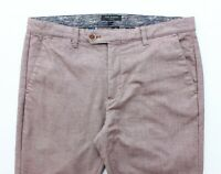 Ted Baker Mens Slim Fit Mauve Herringbone Smart Cropped Trousers - W34 L28