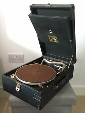 HMV 'His Masters Voice' Portable Gramophone - Black Case with handle working