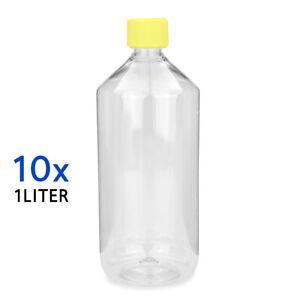 10 x  Kunststoff Flasche Leerflasche 1Liter 1000ml PET mit Deckel Rund