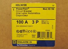 Square D HDL36100 3 POLE 100 AMP TYPE HD 150 POWER PACT Circuit Breaker