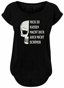 BlingelingShirts Damen Fun Shirt Glitzer Totenkopf Mich zu hassen macht Dich auc