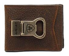 Ariat Western Mens Money Clip Bifold Leather Shield Logo Brown A35119282