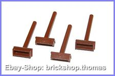 Lego 4 x Besen braun - 3836 - Pushbroom brush Zubehör Reddish Brown - NEU / NEW