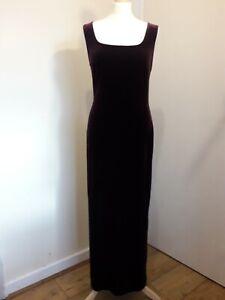 Vintage C&A Deep Plum/Perple Velvet Maxi Bodycon Dress Sz 12 Boho 90s