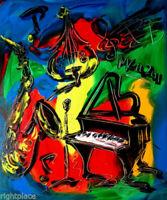 MUSIC JAZZ  by Mark Kazav  Abstract Modern CANVAS Original Oil Painting VUYORB