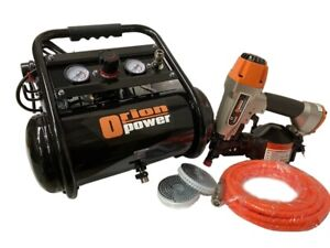 OIL FREE LOW NOISE AIR COMPRESSOR 240 VOLT+CN45 FLOORING NAILER+ NAILS PACKAGE