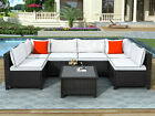 7 Pcs Patio Set Outdoor Wicker Rattan Table Sofa Sectional Furniture w/ Cushions
