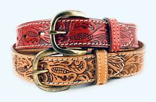 🌟Boys & Girls Tooled Floral Western Belt, Full Grain Leather, Kids Sizes 18-32