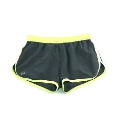 Under Armour Heat Gear Womens black Yellow Lined Drawstring Running Shorts L
