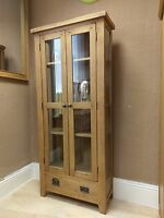 Westminster Solid Oak Glazed Display Cabinet / Dresser Shelving 80cm 32cm 180cm