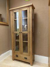 Westminster Solid Oak Glazed Display Cabinet/dresser Shelving 80 cm 32 cm 180 cm