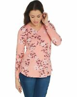 Denim & Co. Womens Plus Perfect Jersey V-Neck Long- Sleeve Top 1X Coral A347266