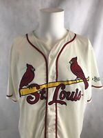 St Louis Cardinals MLB Throwback Authentic Sewn White Promo Baseball Jersey XL