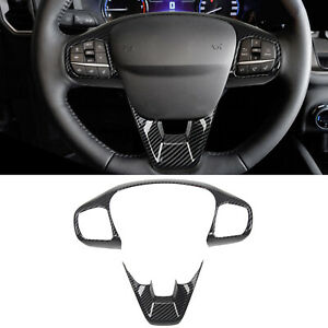 ABS Carbon Steering Wheel Decorative Cover Trim For Ford Bronco Sport 2021-2022