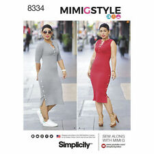 Simplicity 8334 Long Rib Knit Dress w/Sleeves or Sleeveless Pattern Size 8-16