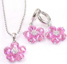 Pink Flower CZ zircon White Gold Plated Ladies Hoop Earrings Necklace Chain Set
