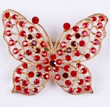 "2.2"" LARGE GOLD TONE BUTTERFLY RED DIAMANTE RHINESTONE CRYSTAL PARTY BROOCH PIN"