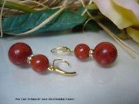 Ohrringe Creolen aus Schaumkorallen, Brisur 925er Silber vergoldet, Design