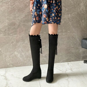 Casual Flat Hidden Heel Women Shoes Ladies Faux Suede Over The Knee Stretch Boot