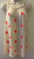 Maurices Plus Size Strappy Top with Pink Embroidered Detail Size 0
