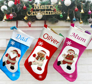 Stocking-Personalised-Embroidered-Christmas Gift-Stocking Embroidered Hanging