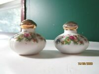 Vintage Salt & Pepper Shakers Porcelain Floral Design Gold Tops Japan