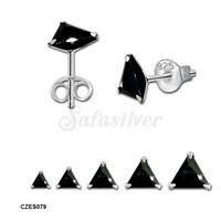 925 Sterling Silver High Quality Black CZ Stud earrings
