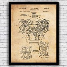 High Torque V8 Car Auto Engine Patent Art Print Decor - Size and Frame Options